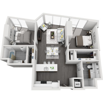 Rendering of the Mt. Harvard - Furnished floor plan layout